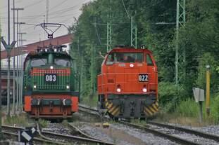 RBH003 und RBH822 im Ubergabebahnhof Recklinghausen-Hochlarmark am 12.07.2007