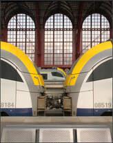 Drei Züge / drei Fenster.