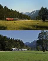 Obwohl zwischen den beiden Aufnahmen rund 24 Jahre liegen, hat sich hier nicht viel geändert: Auf der oberen Aufnahme fährt eine 218 an einem Sommerabend 1994 mit einem RE bei Fischbachau