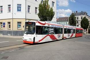 Straßenbahn Zwickau: MAN / AEG GT6M der SVZ Zwickau - Wagen 912, aufgenommen im Juli 2018 am Hauptbahnhof in Zwickau.