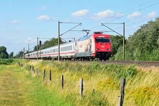 Die neueste Werbung der DB: 101 064  160 Jahre Märklin verbindet Generationen  mit IC 2315 Westerland (Sylt) - Frankfurt (Main) Hbf (Hüde, 01.07.19).