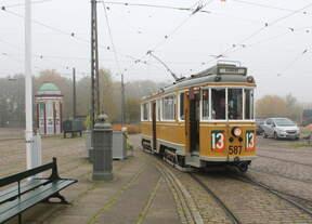 Das dänische Straßenbahnmuseum Sporvejsmuseet Skjoldenæsholm am 16.