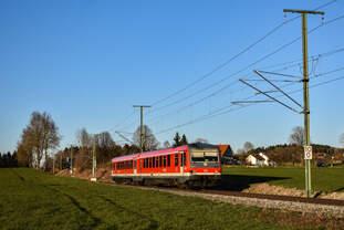 628 901 als RB von Aulendorf nach Wangen(Allgäu) am 23.03.20 bei Ratzenried