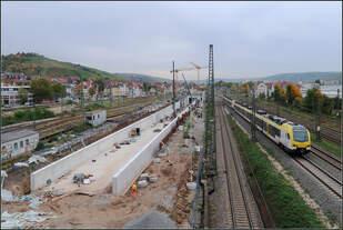 Die Tunnelrampe in Stuttgart-Untertürkheim -    Der zukünftige Abstellbahn in Stuttgart liegt in Untertürkheim.