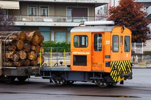 """Die RhB Tm 2/2 22, ex RhB Tm 2/2 58, steht am 02.11.2019 mit drei angehangenen und mit Rundholz beladenen Flachwagen vom Typ """"Sp-w"""" der Serie 8271 – 8300 beim Bahnhof Tirano."""