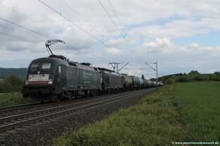 182 573+189 158 MRCE mit Kesselwagen bei Banteln am 16.05.2016