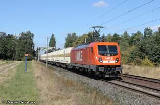 187 010-4 WLE mit Warsteiner-Bierzug in Woltorf am 30.08.2016