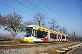 Straßenbahn Mainz / Mainzelbahn: Stadler Rail Variobahn der MVG Mainz - Wagen 225, aufgenommen im Februar 2016 zwischen Mainz-Lerchenberg und Mainz-Marienborn.