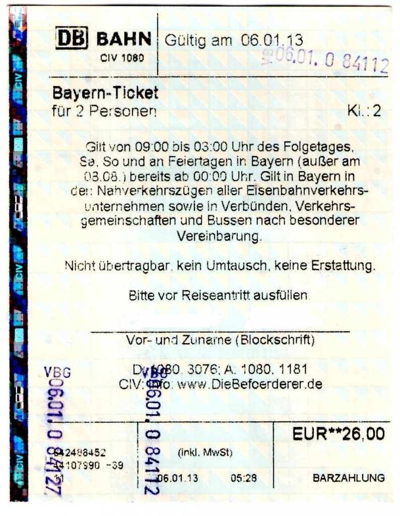 Kosten bayernticket single