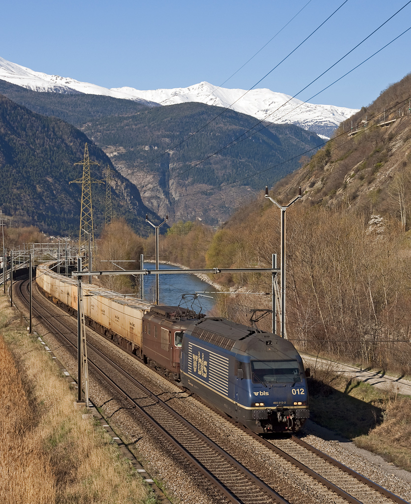 BLS Re465 012 + Re4/4 177 hauling a southbound containers train, here between Visp and Brig on the 2nd of April in 2011