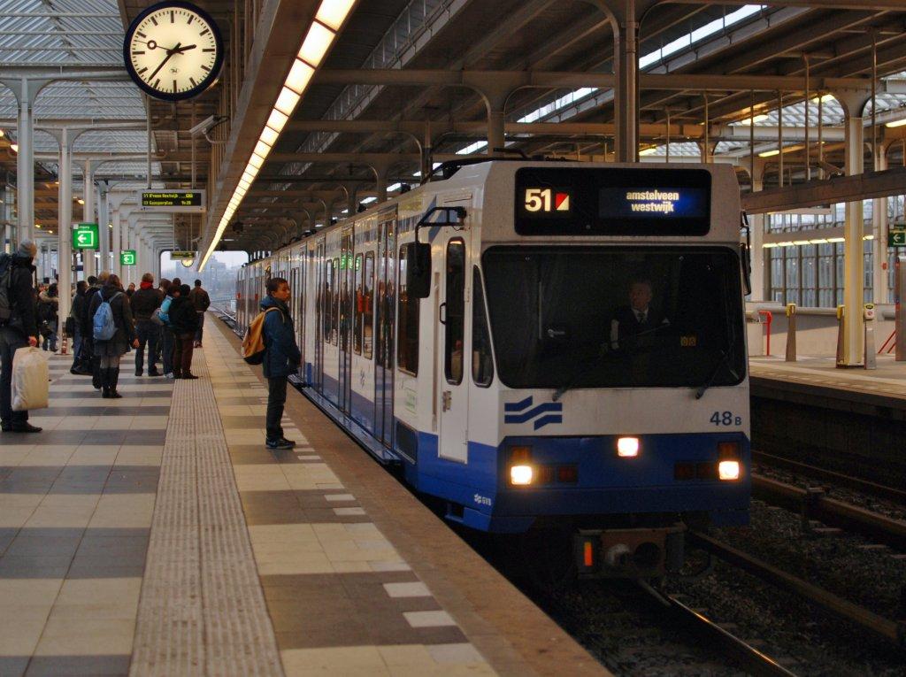 gvb linie 51 mit wagen 48 a b fuhrt die u bahn von amsterdam cs nach amstelveen westwijk. Black Bedroom Furniture Sets. Home Design Ideas