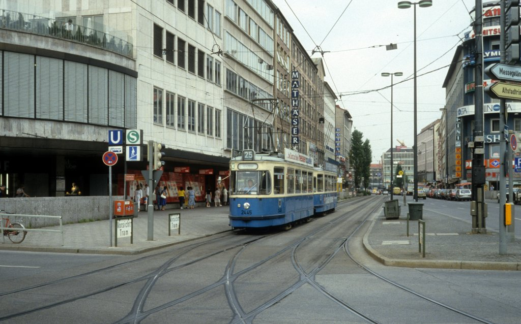 m nchen mvv tramlinie 25 2445 bayerstrasse karlsplatz stachus im juli 1987. Black Bedroom Furniture Sets. Home Design Ideas