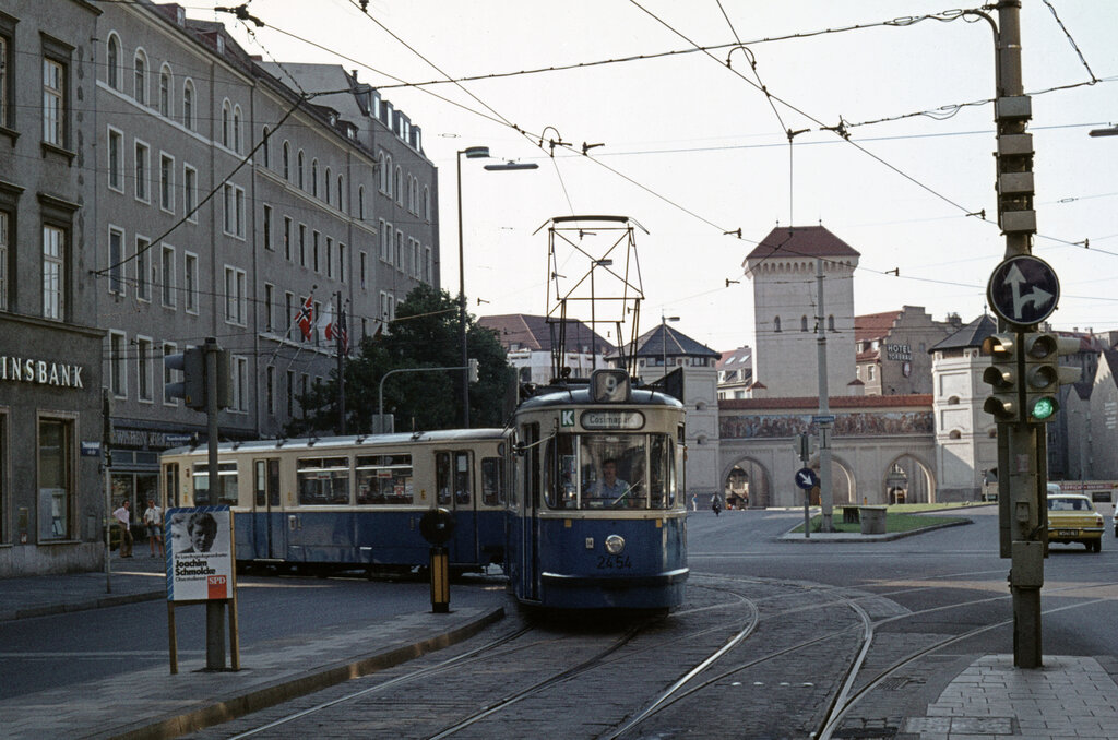 m nchen mvv tramlinie 9 2454 isartorplatz zweibr ckenstrasse am 17 august 1974. Black Bedroom Furniture Sets. Home Design Ideas