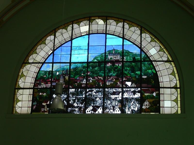 Zweites bleiglasfenster im bahnhof bad harzburg unten - Fenster lasst sich nicht mehr kippen ...
