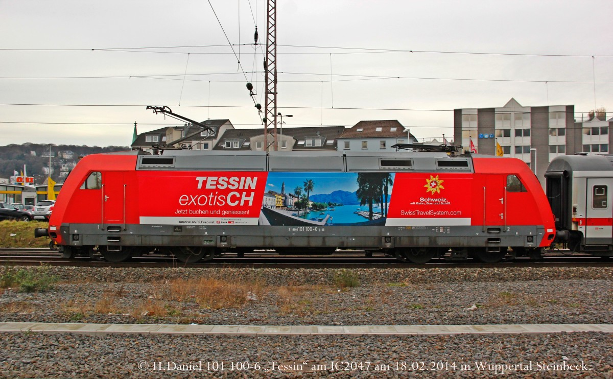 101 100-6  Tessin  am IC2047 am 18.02.2014 in Wuppertal Steinbeck.