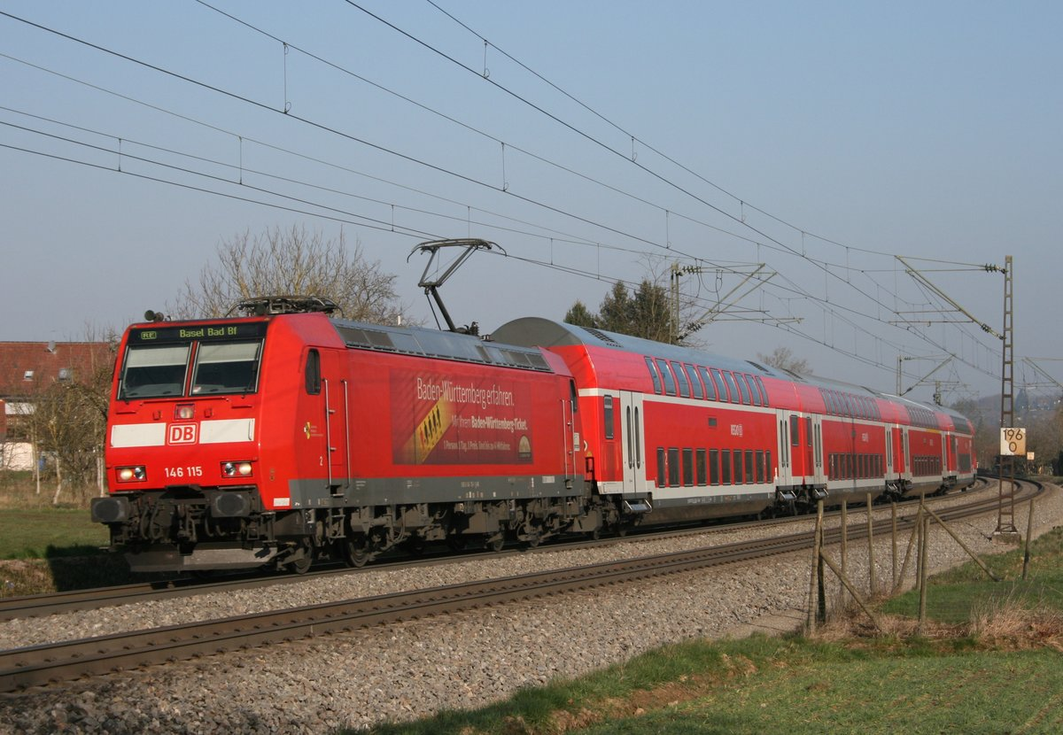 146 115 mit RE 17017 (Offenburg–Basel Bad Bf) am 18.03.2016 in Kollmarsreute