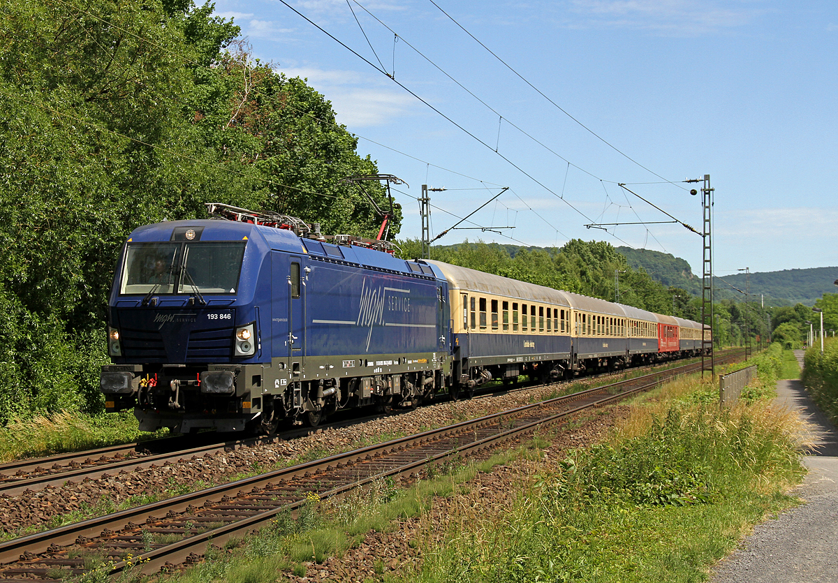 193 846 mit dem Hetzerather Partyzug in BN-Limperich am 11.06.2017