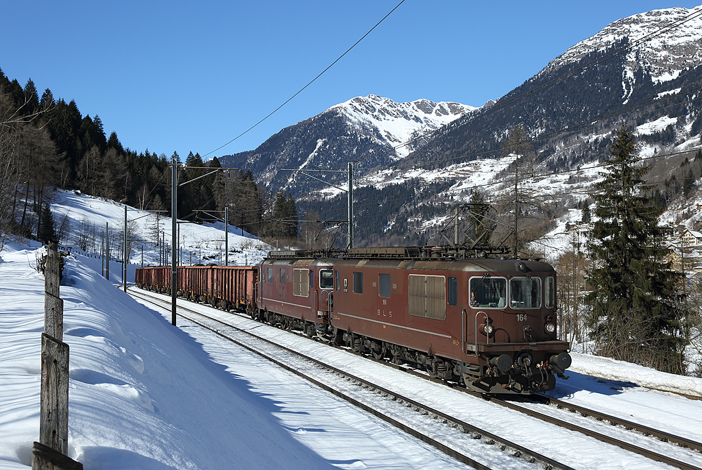 BLS locomotives 164 & 167 pass Quinto whilst hauling a freight train from Emmenbrucke-Lecco, 20 Feb 2015