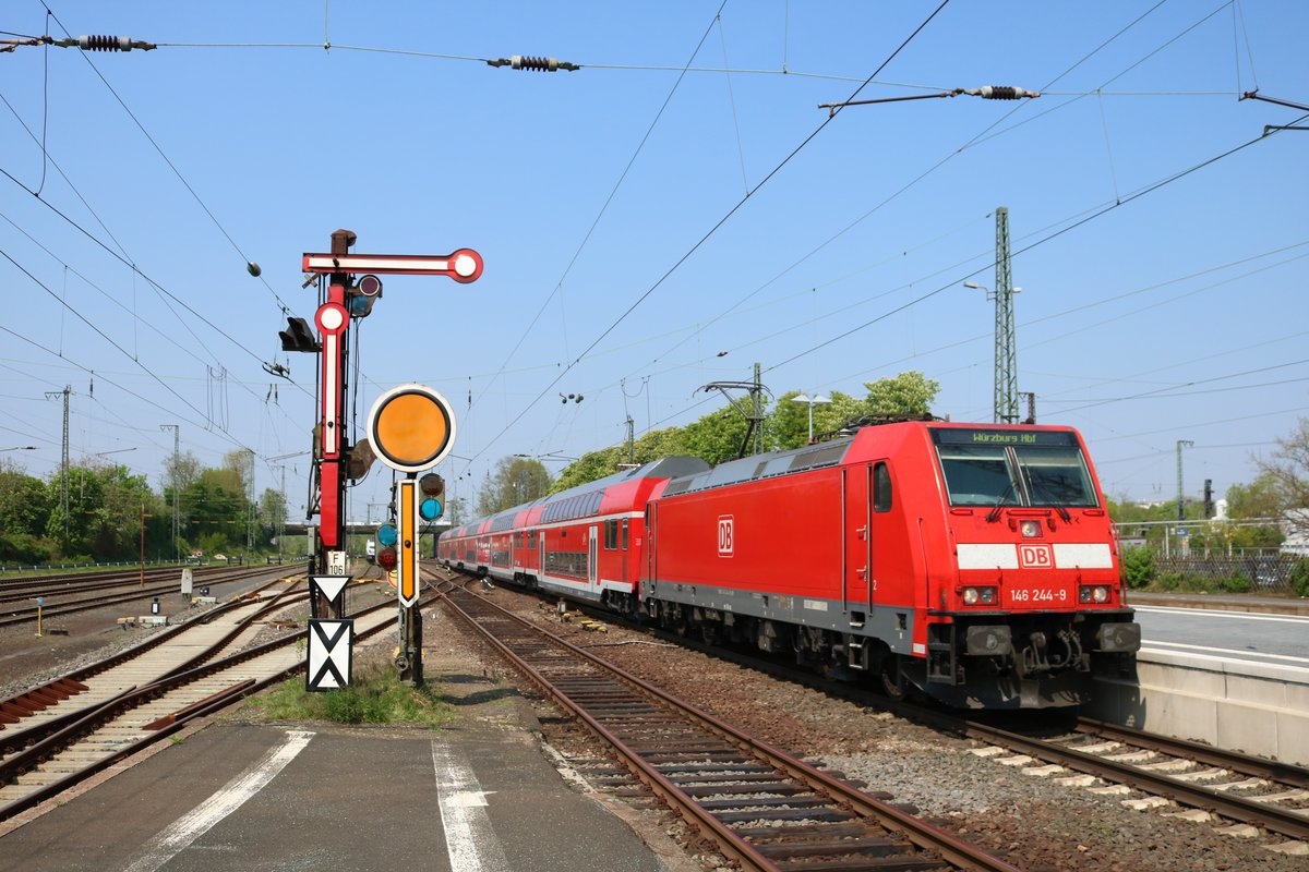 DB Regio 146 244-9 als RE55 nach Bamberg in Hanau Hbf