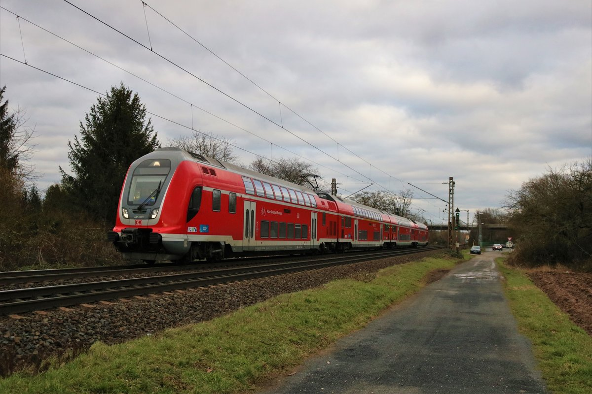DB Regio Bayern Bombardier Twindexx 445 063 am 14.02.20 in Maintal Ost