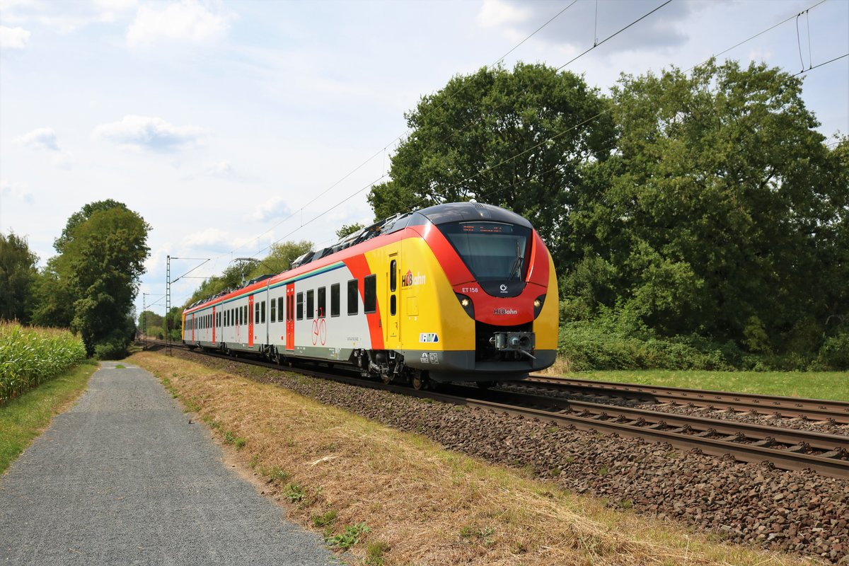 HLB Alstom Continental (Grinsekatze) 1440 159 (ET 158) am 29.07.18 bei Maintal Ost