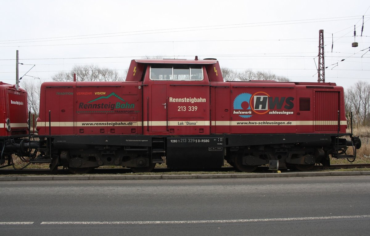 Lok  Diana  213 339-5 D-RSBG am 25.02.2016 in Anklam - Hafenstrasse