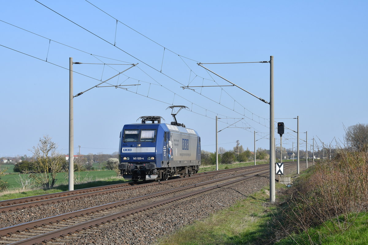 RBH 145 020 als Tfzf am 16.04.2019 bei Wulfen(Anh)