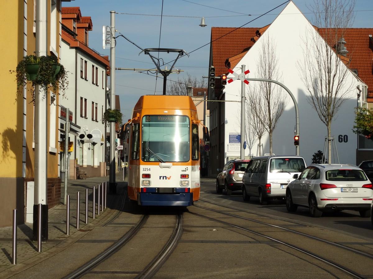RNV Düwag M8C 3254 (modernisiert) am 22.11.14 in Heidelberg Kirchheim ...