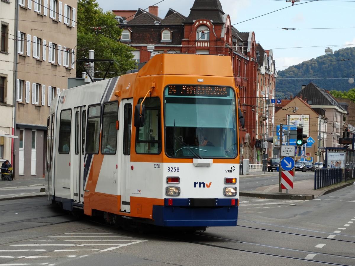 RNV M8C 3258 (modernisiert) am 27.09.14 in Heidelberg - Bahnbilder.de