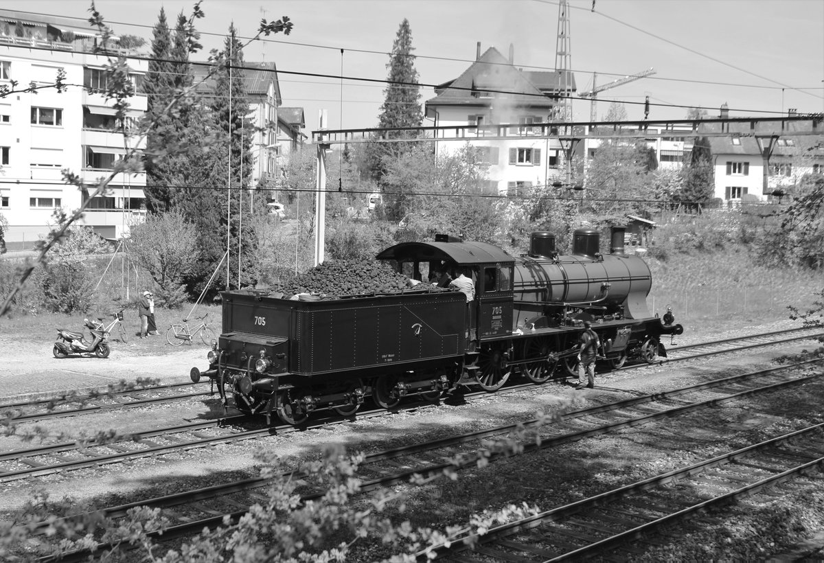 SBB Historic A 3/5 Nr. 705 am 21. April 2018 im Bahnhof Winterthur Töss. ...
