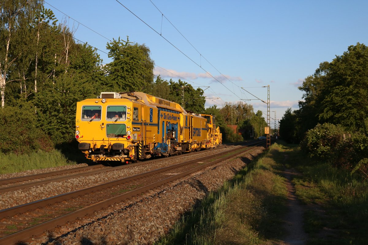 Spitzke Plasser&Theurer UNIMAT 09/4x4/4S Stopfexpress und Schotterplaniermaschine in Hanau West am 12.05.19