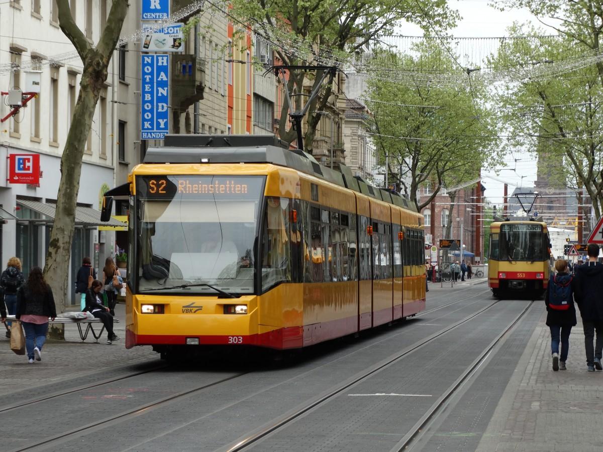 Vbk Wagen 303 Im Neuen Design In Karlsruhe Innenstadt Am