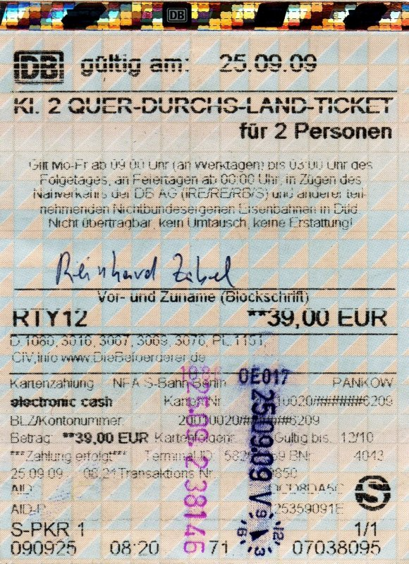 quer durch s land ticket