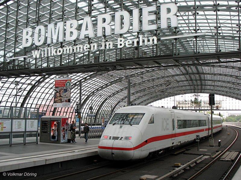 stilbruch siemens ice unter der bombardier werbung br 402 rheinsberg bei ausfahrt aus berlin. Black Bedroom Furniture Sets. Home Design Ideas