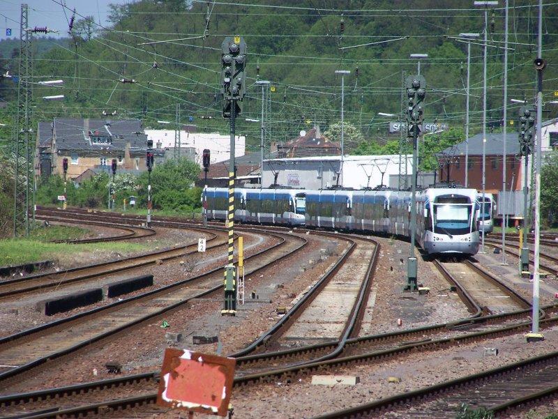 Blick Auf Das Saarbahn Depot Im Bahnhof Saarbrücken Brebach Von