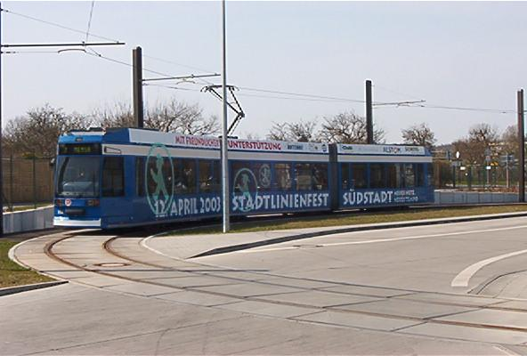 Rostocker Straßenbahn Der Linie 2 An Der Neuen Wendeschleife Mensa