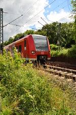 425 109-6 als RB 44 nach Mainz, lugt hier hinterm Busch hervor, viel mehr als das lässt das Gestrüpp dem Fotografen nicht zum fotografieren überig. 18.6.2016