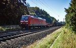 145 032-9 ist am 24.08.16 mit einen gemischten Güterzug bei Burghaun zu sehen.