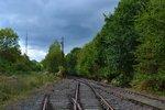 Trarige Stimmung einer einst bedeutenden Bahnstrecke die heute nur noch von einem Verein erhalten und gepflegt wird. Heute sieht man hier nur noch Relikte aus vergangener Zeit. Blick aus Raeren in Richtung Eupen 08.10.2016