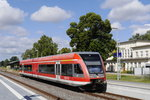 646 027 als RE 6 Wittenberge - Berlin in Pritzwalk, 20.7.16.