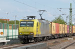 Alpha Trains 145-CL 031 on containers through Nauheim towards Mainz on 09 May 2016.
