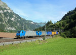 185 536 & 185 527 pass Blausee whilst hauling a CrossRail container train from Milano to Zebrugge, 3 Aug 2016