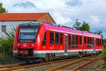 DB ALSTOM LINT 41 von Ueckermünde nach Pasewalk fährt (wie immer) abzweigend in den Bahnhof Torgelow ein.