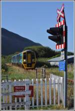 158839 erreicht Fairbourne, Ausgangspunkt der Fairbourne Steam Railway.