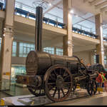 George Stephensons Rocket (Original) im Science Museum in London am 9.