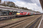 Nachschuss auf Virgin InterCity nach Newcastle upon Tyne am 09.04.2016 in Durham.