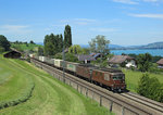 179 + 174 approach Spiez whilst hauling an intermodal train, 2 Aug 2016