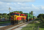 FEC 808 + 816 approach Delray Beach whilst hauling train 222, 1745 Miami-Bowden Yard, 19 June 2016