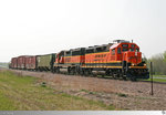 Kurzer 'Lumpensammler' der Burlington Northern and Santa Fe Railway unterwegs in Minnesota.