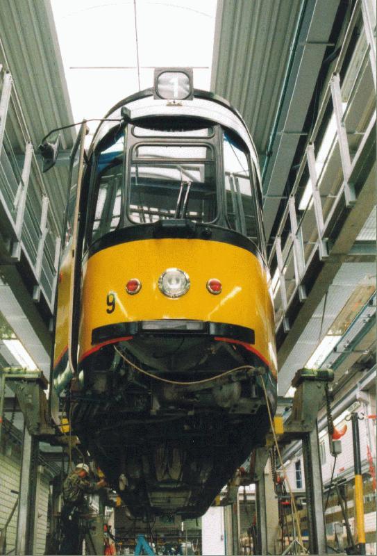 Der triebwagen nr 9 der ulmer stra enbahn wird im depot for Depot esslingen